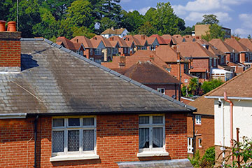 View across rooftops of urban housing